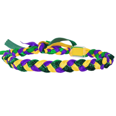 Mardi Gras Braided Haylo Headband With Green Glitter