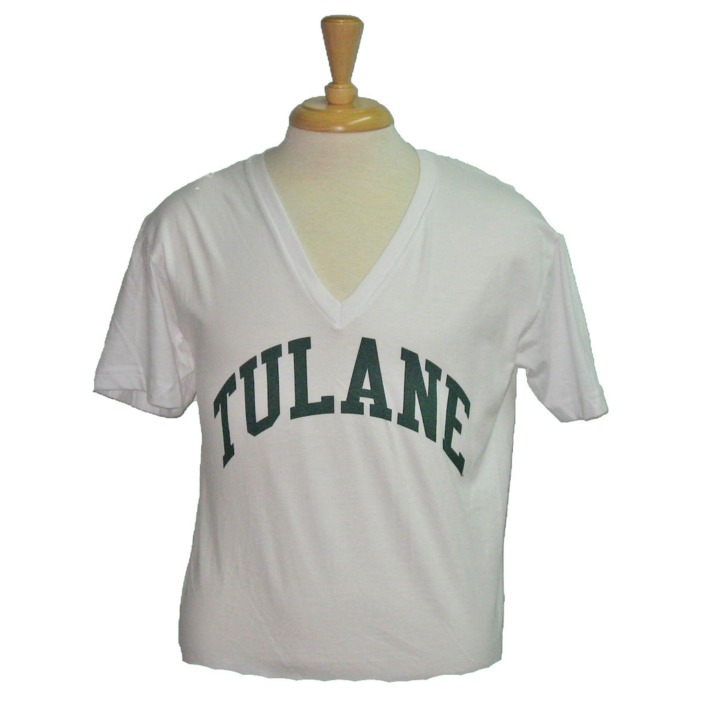 Tulane American Apparel V-Neck White - Campus Connection - Campus Connection