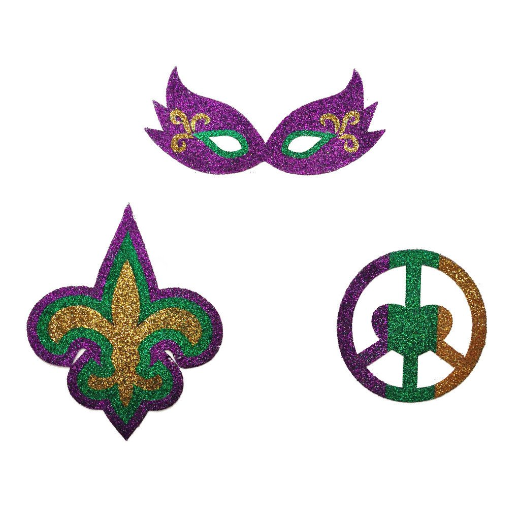 Mardi Gras Peel and Stick Glitter Tattoos - Haybands - Campus Connection