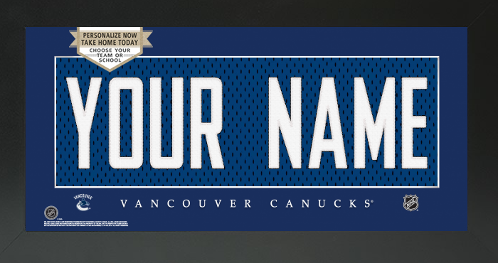 Vancouver Canucks Jersey NHL Nameplate Custom Framed Sign