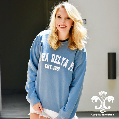 Comfort Colors Crewneck Sweatshirt with Varsity Design