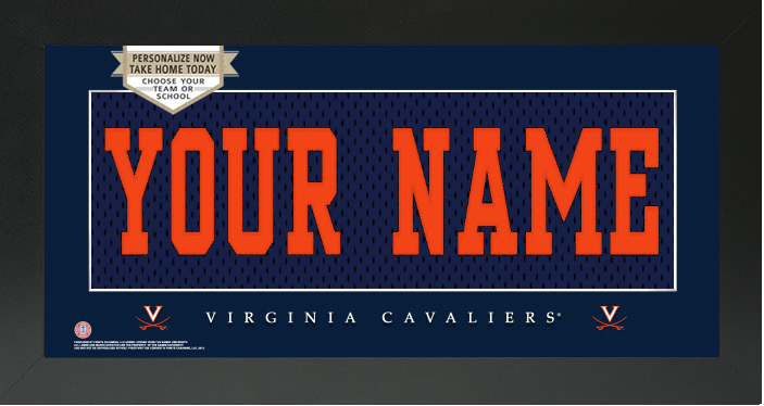 Virginia Cavaliers NCAA Jersey Nameplate Custom Framed Sign