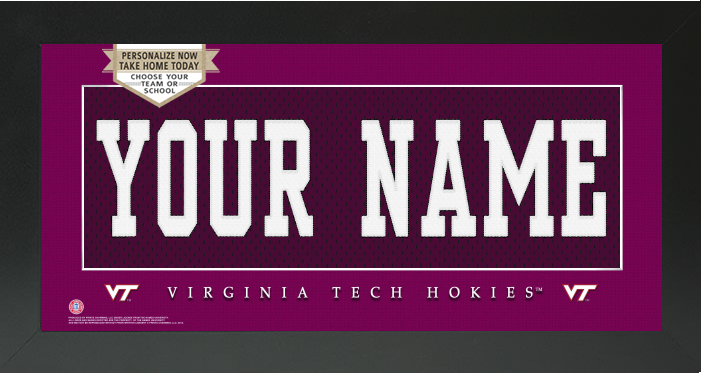 Virginia Tech Hokies NCAA Jersey Nameplate Custom Framed Sign