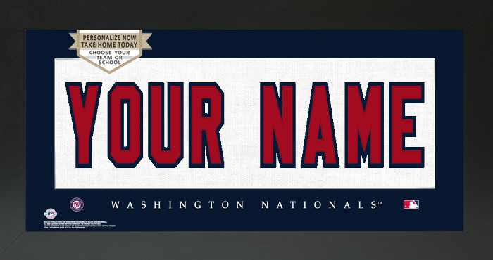 Washington Nationals MLB Jersey Nameplate Custom Framed Sign