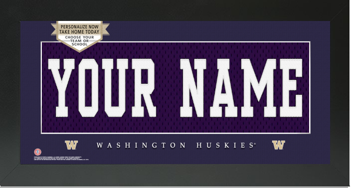 Washington Huskies NCAA Jersey Nameplate Custom Framed Sign