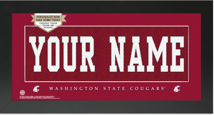 Washington State Cougars NCAA Jersey Nameplate Custom Framed Sign