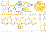 Sorority Metallic Flash Temporary Tattoo Sheets - A-List - Campus Connection - 2