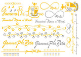 Sorority Metallic Flash Temporary Tattoo Sheets - A-List - Campus Connection - 3