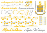 Sorority Metallic Flash Temporary Tattoo Sheets - A-List - Campus Connection - 4