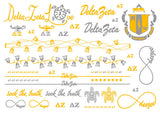 Sorority Metallic Flash Temporary Tattoo Sheets - A-List - Campus Connection - 7
