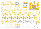 Sorority Metallic Flash Temporary Tattoo Sheets - A-List - Campus Connection - 8