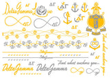 Sorority Metallic Flash Temporary Tattoo Sheets - A-List - Campus Connection - 9