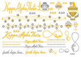 Sorority Metallic Flash Temporary Tattoo Sheets - A-List - Campus Connection - 10
