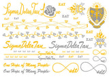 Sorority Metallic Flash Temporary Tattoo Sheets - A-List - Campus Connection - 12