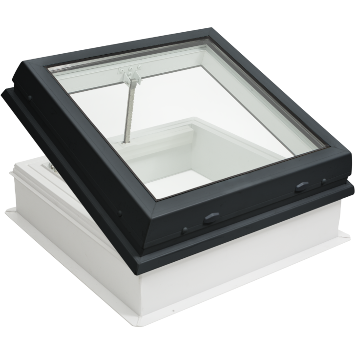 RAYLUX Flat Glass Electric Opening with PVC 150mm Vertical Upstand - Grey (including Wall Switch)