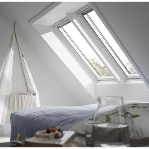 velux ggu white polyurethane centre pivot roof windows. Black Bedroom Furniture Sets. Home Design Ideas