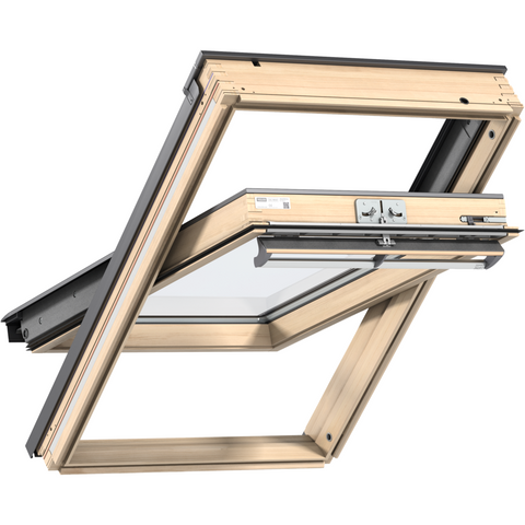 VELUX GGL FK08 3062 Triple Glazed & Noise Reduction Pine Centre-Pivot Roof Window (66 x 140 cm)