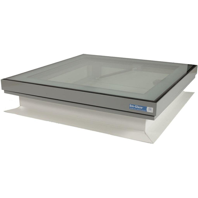 Whitesales Em-Glaze Flat Glass Rooflight with Manual Opening PVC 150mm Verticle Upstand