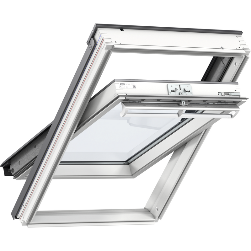 VELUX GGL UK08 2066 White Painted Triple Glazed Centre-Pivot Window (134 x 140 cm)