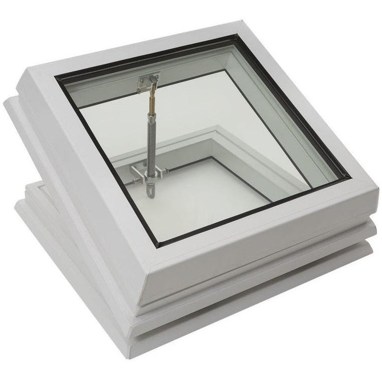 RAYLUX Flat Glass with Manual Opening PVC 150mm Vertical Upstand - White