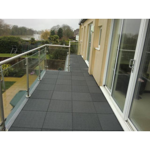 Castle Composites Castleflex Rubber Promenade Tiles Charcoal Grey