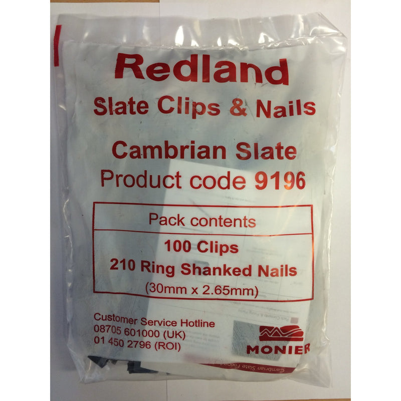 Redland Cambrian Slate Clips & Nails (pack of 100)