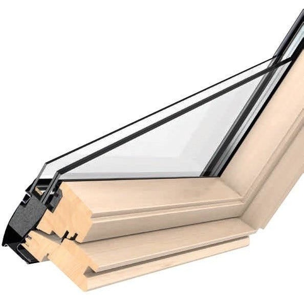 VELUX GGL PK04 3062 Triple Glazed & Noise Reduction Pine Centre-Pivot Window (94 x 98 cm)