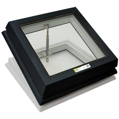 RAYLUX Flat Glass with Manual Opening PVC 150mm Vertical Upstand - Grey