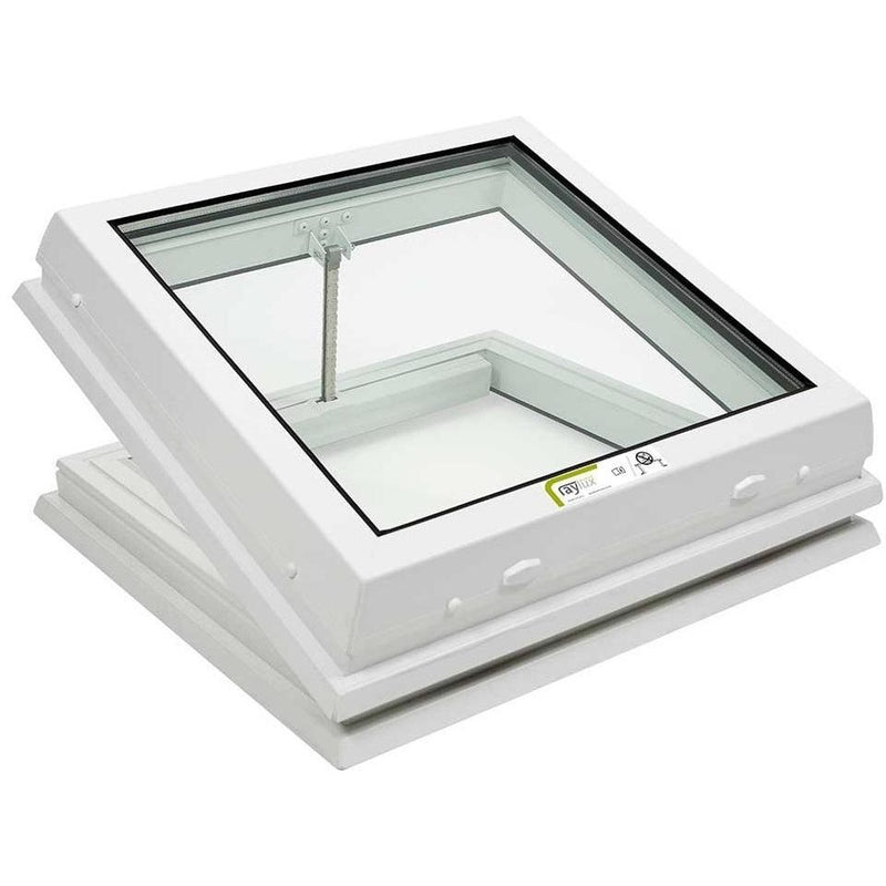 RAYLUX Flat Glass Electric Opening with PVC 150mm Vertical Upstand - White