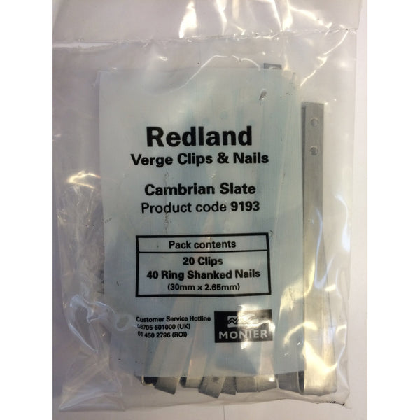 Redland Cambrian Verge Clips Amp Nails Roofing Outlet
