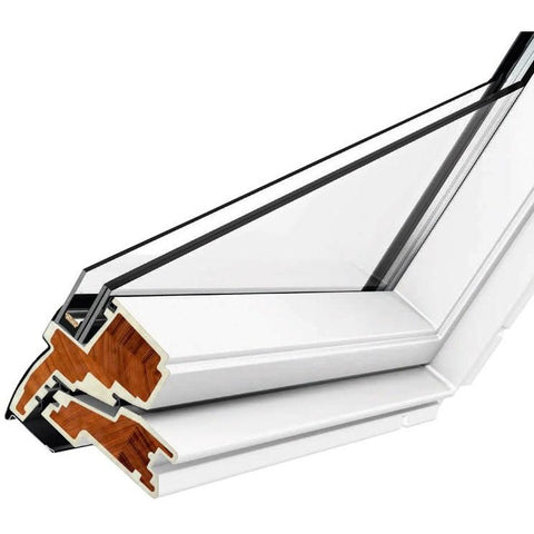 Velux ggu mk04 0070 white centre pivot roof window for Outlet velux