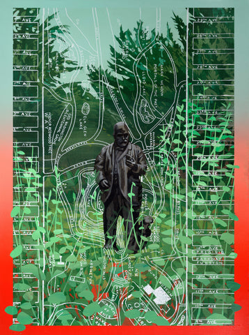 """The John McLaren Monument (with Map of Golden Gate Park)"" by Robert Minervini"