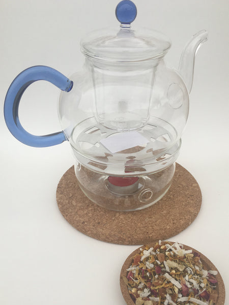GLASS TEA POT & WARMER WITH ONE PACKAGE OF TEA FREE