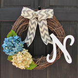 Monogram Wreath with Blue & Cream Hydrangeas