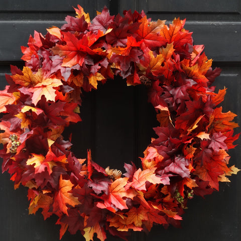 Fall Leaves Wreath with Pine Cones, Berries & Twig Bundles