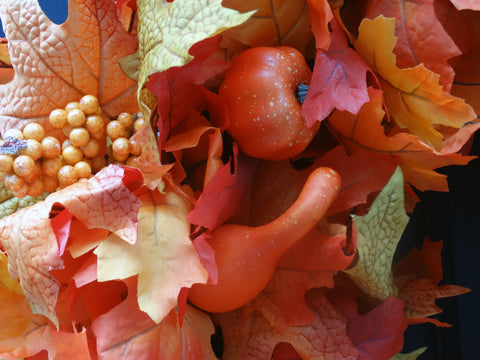 Fall Leaves Wreath with Pumpkins, Gourds & Orange Berries