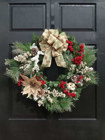 Pine Christmas Wreath with Owl, Burlap Poinsettia, Red & Gold Berries and Pine Cone Design Bow