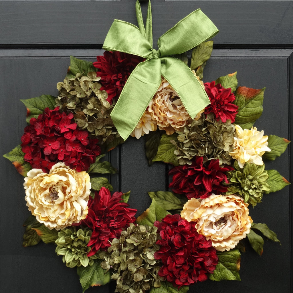 Floral Christmas Wreath; 24 Inch