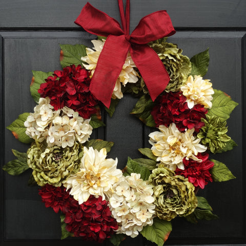 Mixed Floral Christmas Wreath; 24 Inch