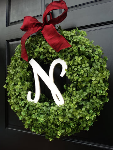 Monogrammed Holiday Boxwood Wreath; 22 Inch