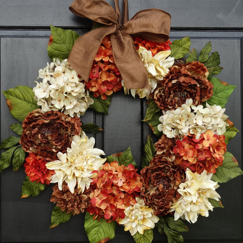 Fall / Thanksgiving Mixed Floral Wreath; 24 Inch