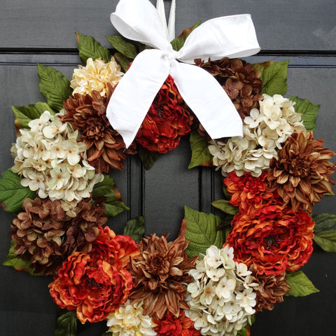 Fall Front Door Wreath With Faux Peonies, Hydrangeas And Dahlias; Brown /  Cream /