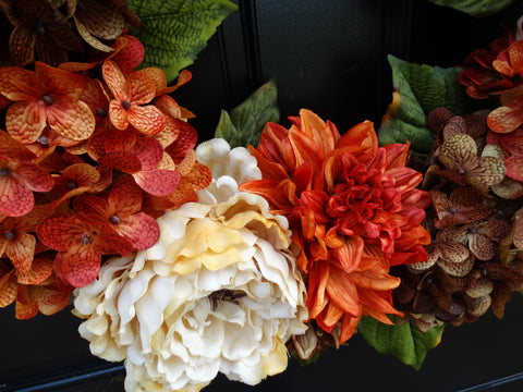 Thanksgiving / Fall Mixed Floral Wreath; 24 Inch