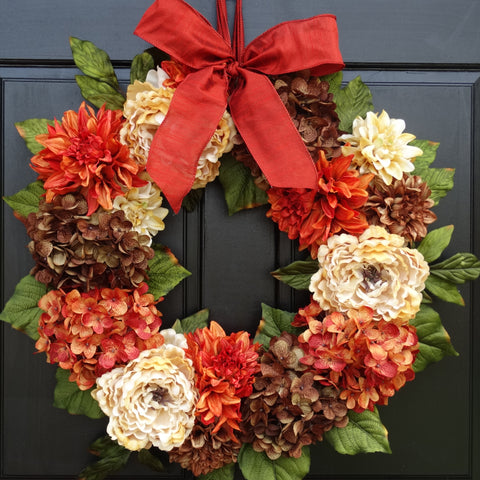 24 Inch Large Fall Thanksgiving Hydrangea, Peony and Dahlia Wreath