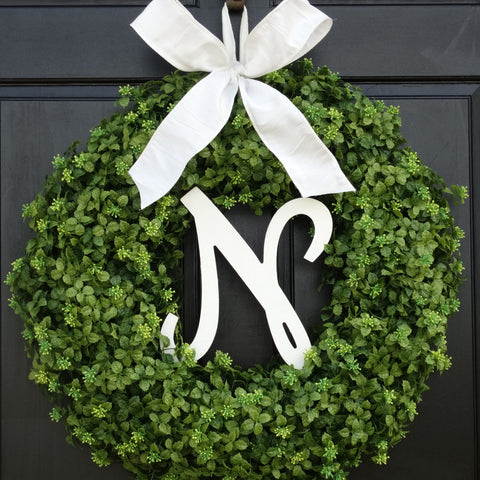 Boxwood Monogram Wreath; 22 Inch