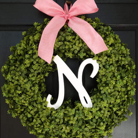 Monogrammed Spring / Summer Boxwood Wreath; 22 Inch