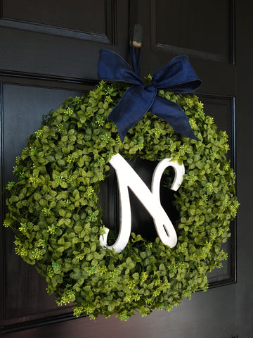 Monogrammed Winter Boxwood Wreath; 22 Inch