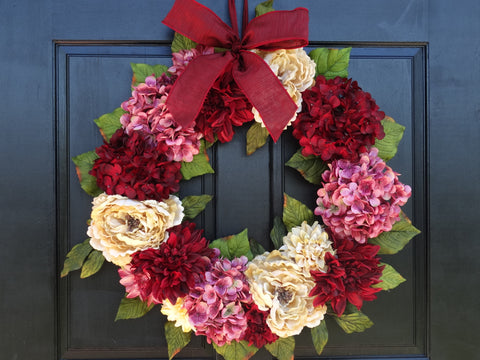 Valentines Day Mixed Floral Wreath; 24 Inch