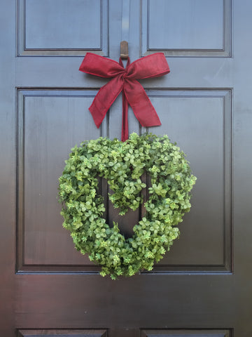 Boxwood Heart Wreath with Bow; 16 Inch