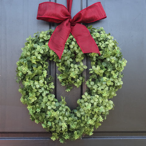 "16"" Small Boxwood Heart Wreath with Bow"